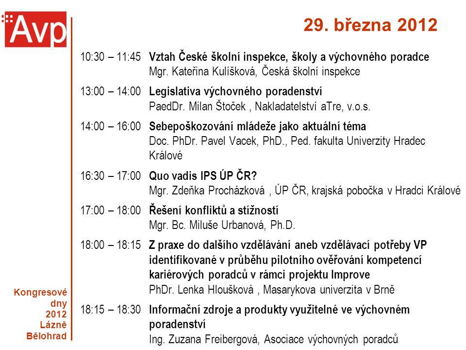 29. března 2012 10:30 – 11:45 Vztah České školní inspekce, školy a výchovného poradce. Mgr. Kateřina Kulíšková, Česká školní inspekce.