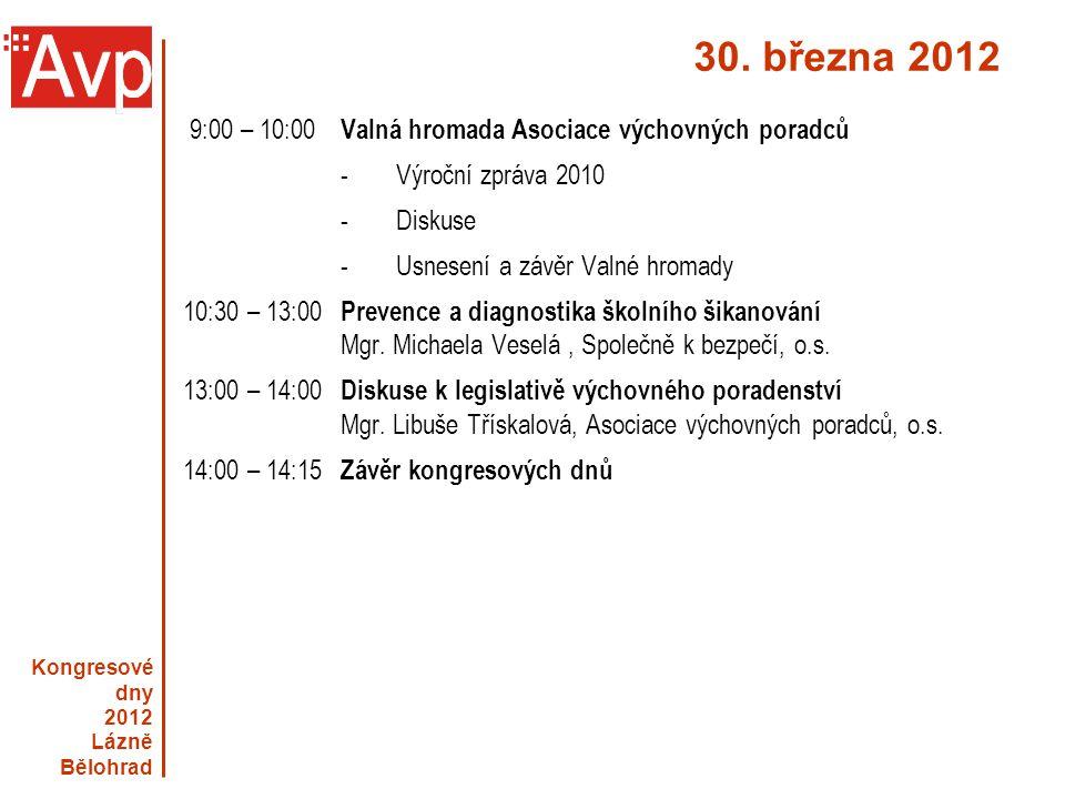 30. března 2012 9:00 – 10:00 Valná hromada Asociace výchovných poradců