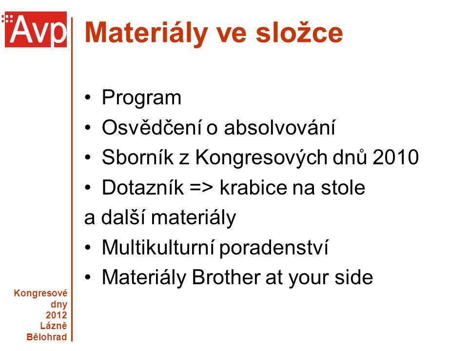 Materiály ve složce Program Osvědčení o absolvování