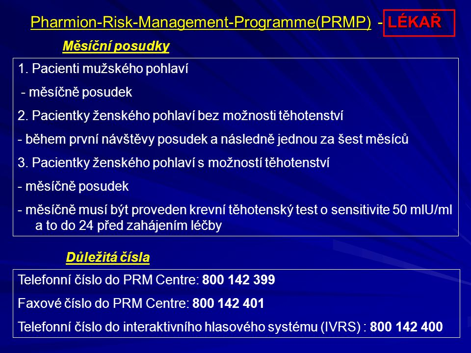 Pharmion-Risk-Management-Programme(PRMP) - LÉKAŘ
