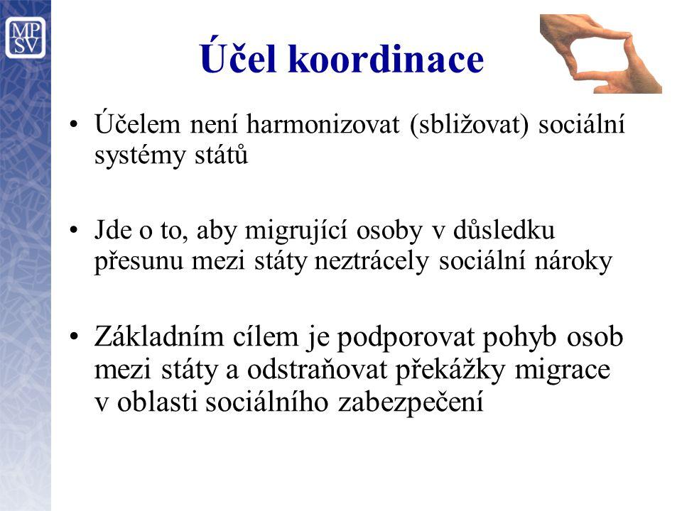 Účel koordinace Účelem není harmonizovat (sbližovat) sociální systémy států.