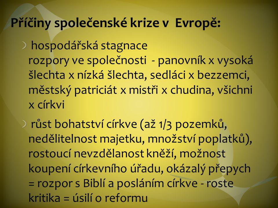 Příčiny společenské krize v Evropě: