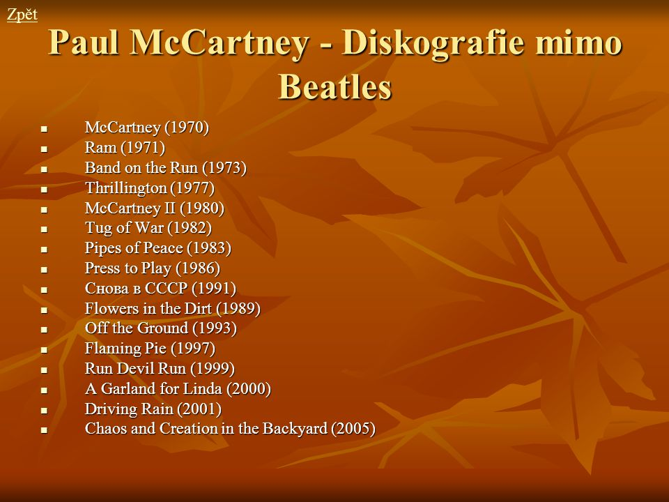 Paul McCartney - Diskografie mimo Beatles