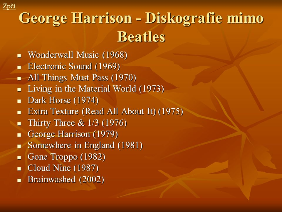 George Harrison - Diskografie mimo Beatles