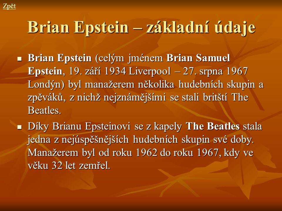 Brian Epstein – základní údaje