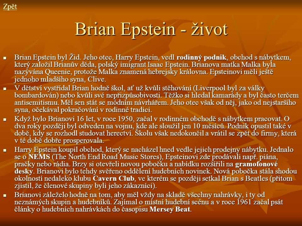 Brian Epstein - život Zpět