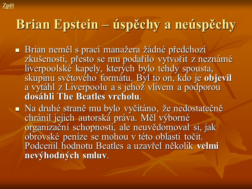 Brian Epstein – úspěchy a neúspěchy