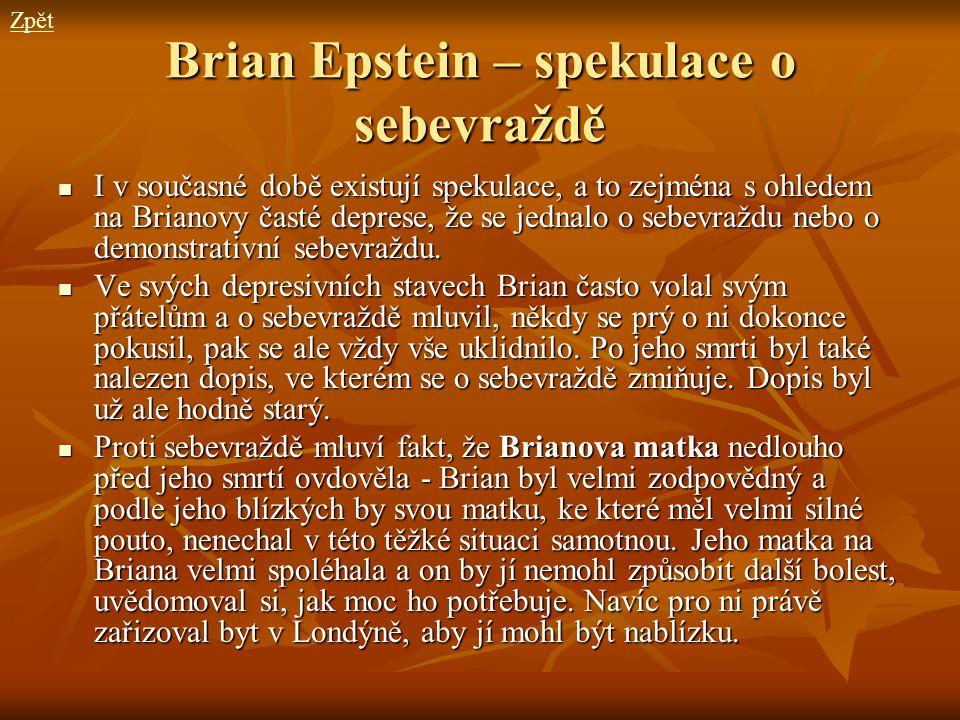 Brian Epstein – spekulace o sebevraždě