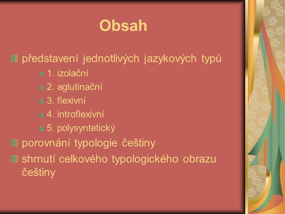 Obsah představení jednotlivých jazykových typů