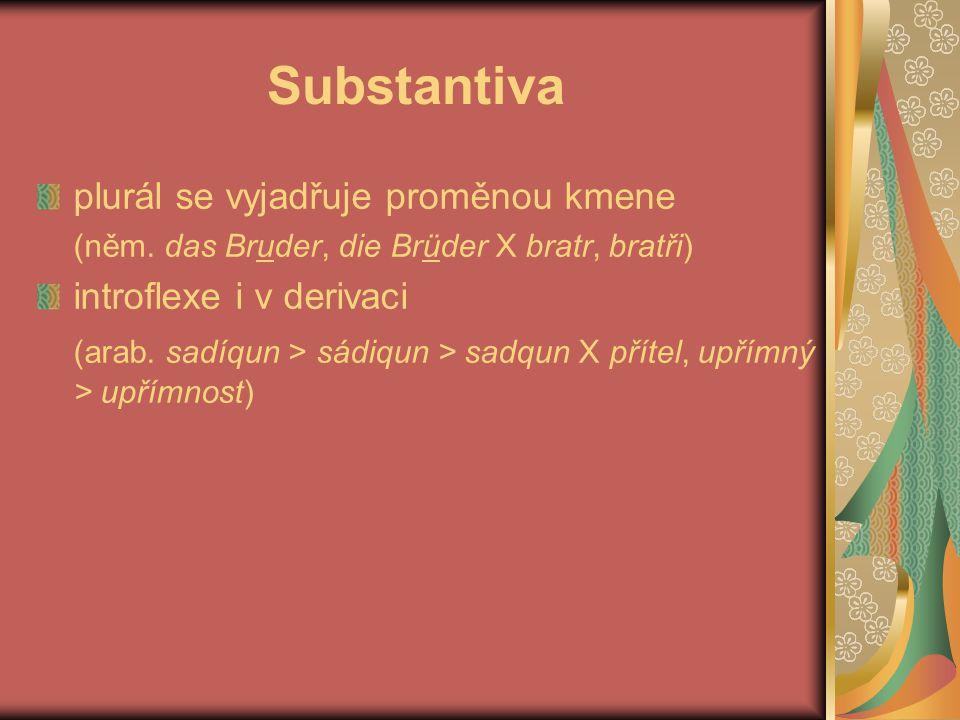 Substantiva plurál se vyjadřuje proměnou kmene introflexe i v derivaci