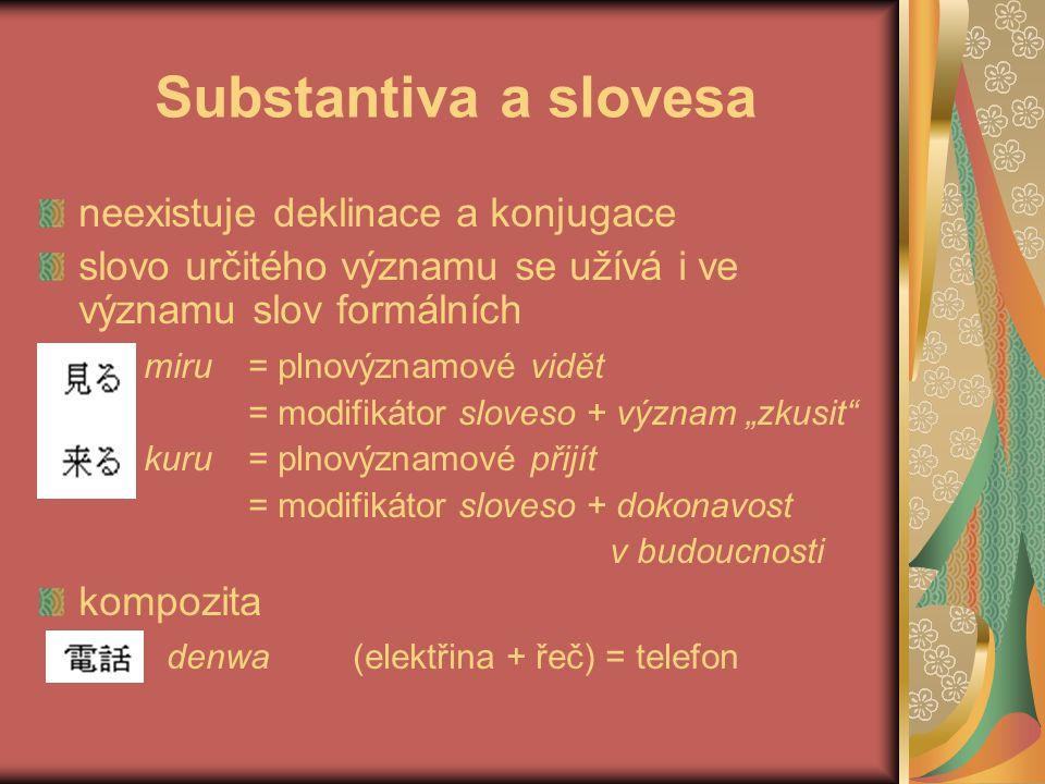 Substantiva a slovesa neexistuje deklinace a konjugace