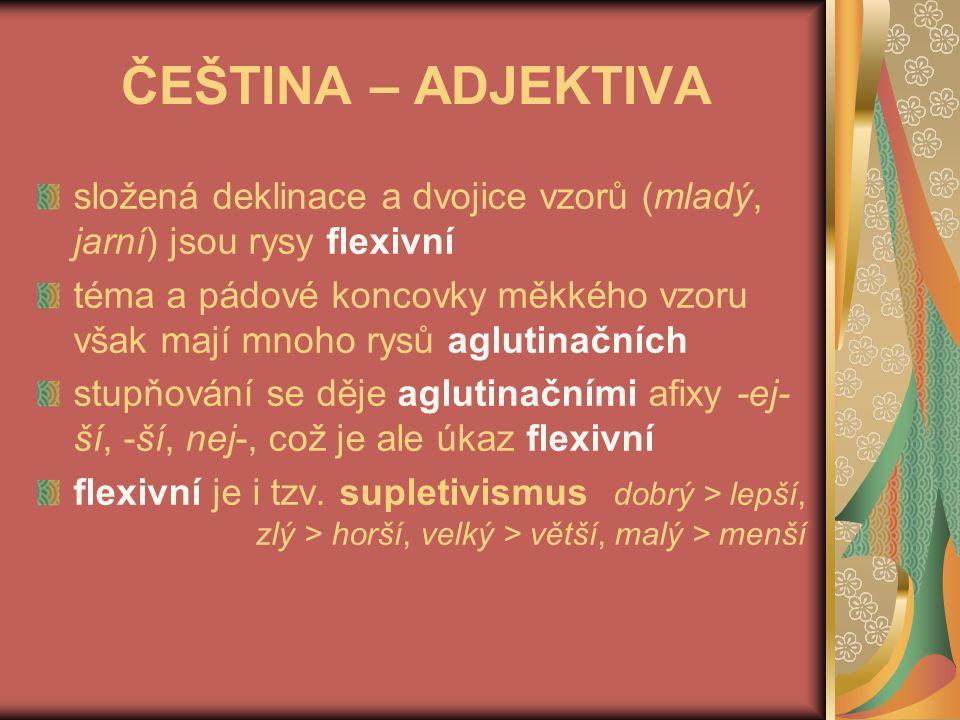 ČEŠTINA – ADJEKTIVA složená deklinace a dvojice vzorů (mladý, jarní) jsou rysy flexivní.