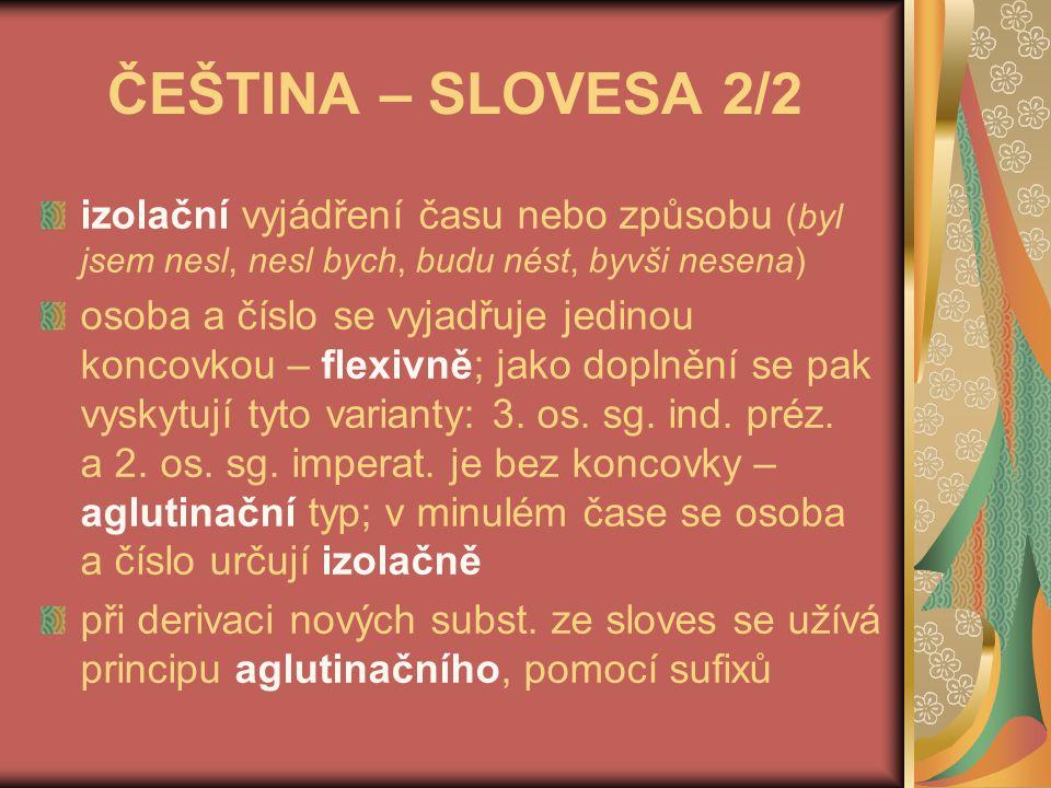 ČEŠTINA – SLOVESA 2/2 izolační vyjádření času nebo způsobu (byl jsem nesl, nesl bych, budu nést, byvši nesena)