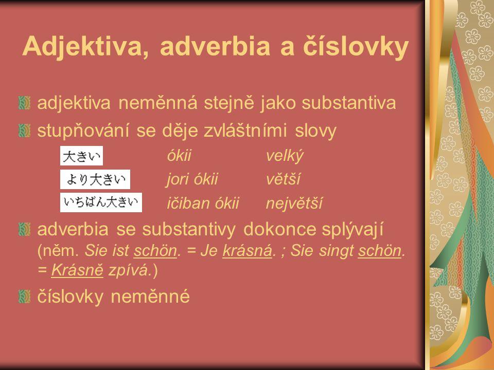 Adjektiva, adverbia a číslovky