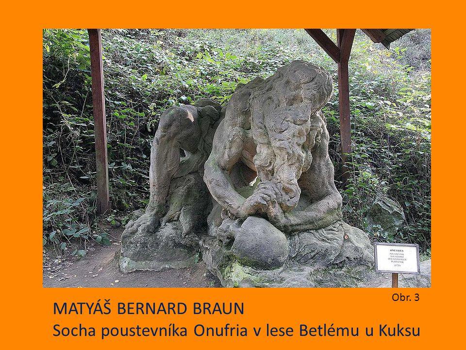 Socha poustevníka Onufria v lese Betlému u Kuksu