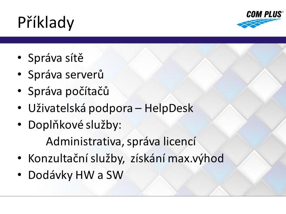 Příklady Správa sítě Správa serverů Správa počítačů