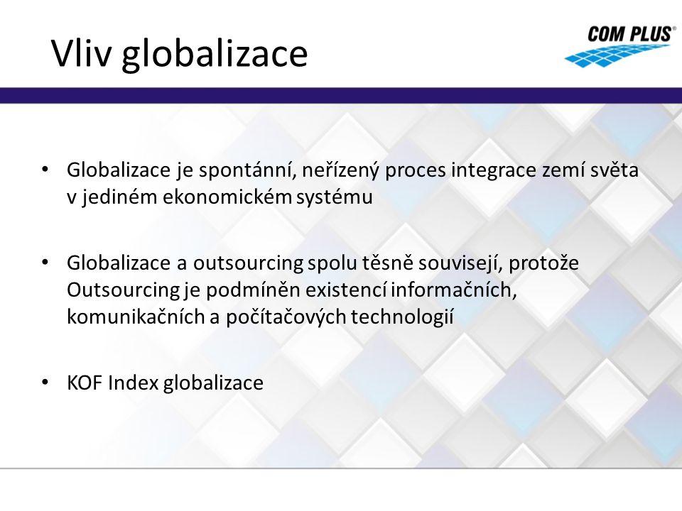 Vliv globalizace Globalizace je spontánní, neřízený proces integrace zemí světa v jediném ekonomickém systému.
