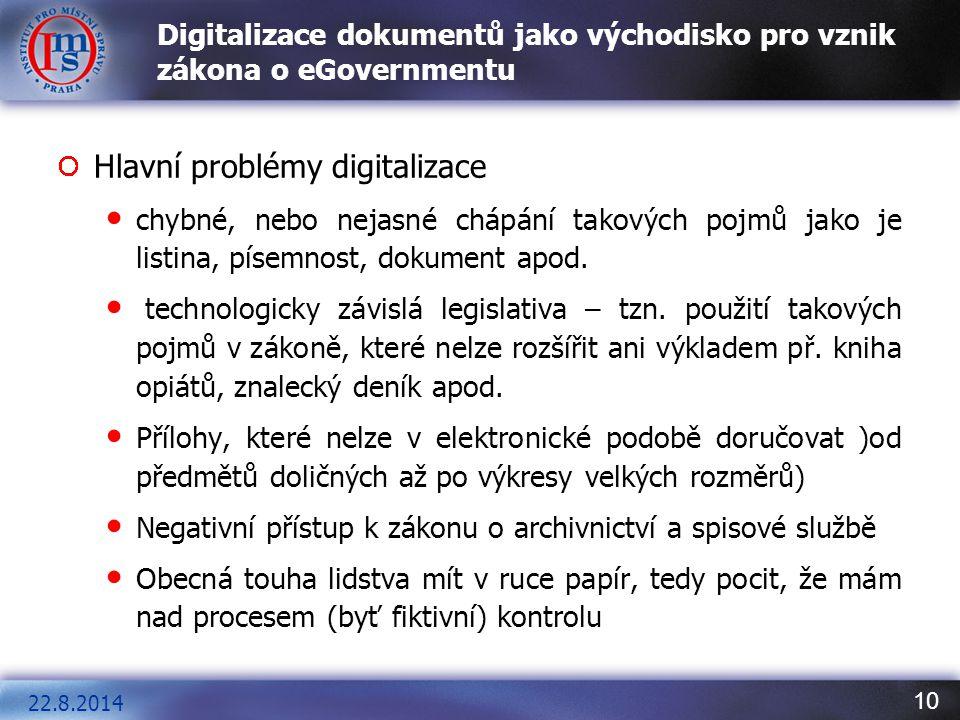 Digitalizace dokumentů jako východisko pro vznik zákona o eGovernmentu