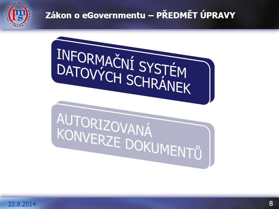 Zákon o eGovernmentu – PŘEDMĚT ÚPRAVY