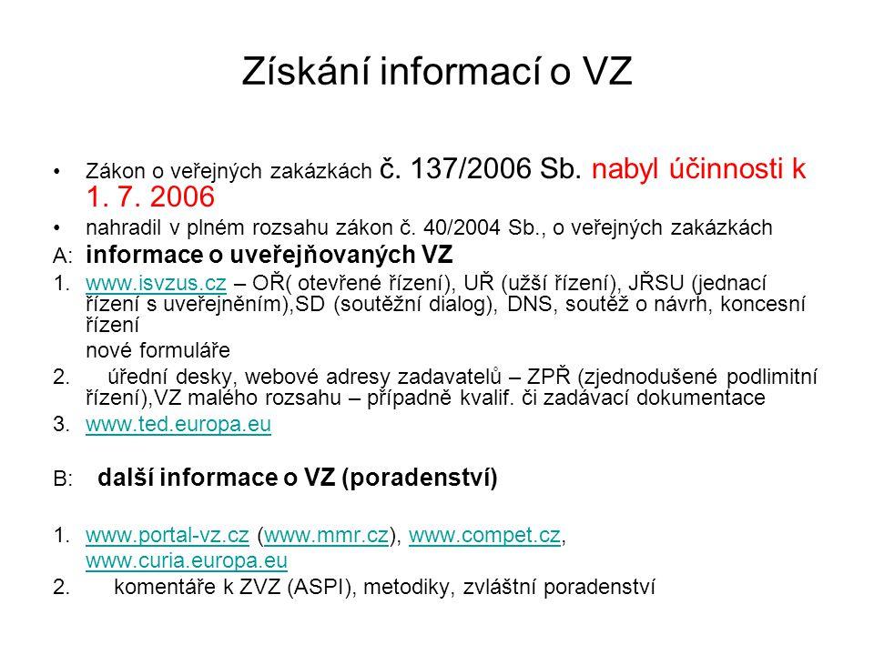Získání informací o VZ Zákon o veřejných zakázkách č. 137/2006 Sb. nabyl účinnosti k 1. 7. 2006.