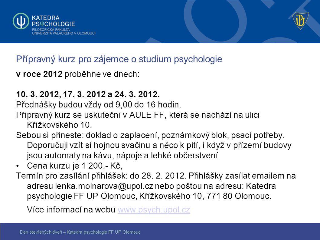 Přípravný kurz pro zájemce o studium psychologie