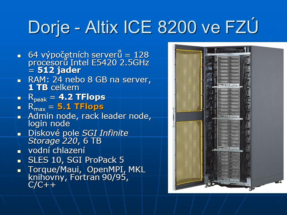 Dorje - Altix ICE 8200 ve FZÚ 64 výpočetních serverů = 128 procesorů Intel E5420 2.5GHz = 512 jader.