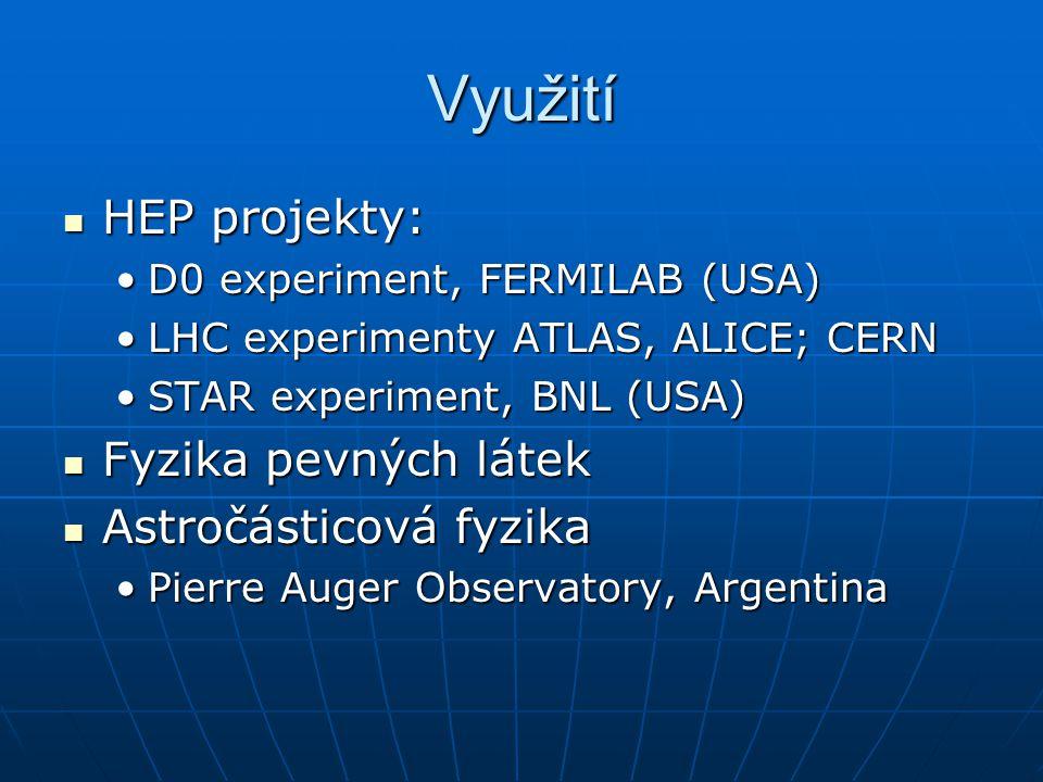 Využití HEP projekty: Fyzika pevných látek Astročásticová fyzika