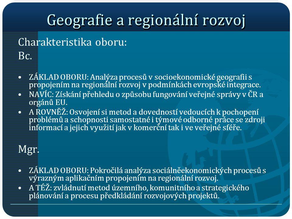 Geografie a regionální rozvoj
