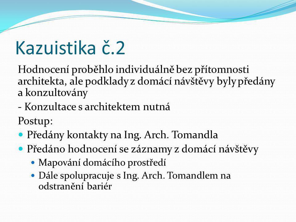 Kazuistika č.2 Hodnocení proběhlo individuálně bez přítomnosti architekta, ale podklady z domácí návštěvy byly předány a konzultovány.