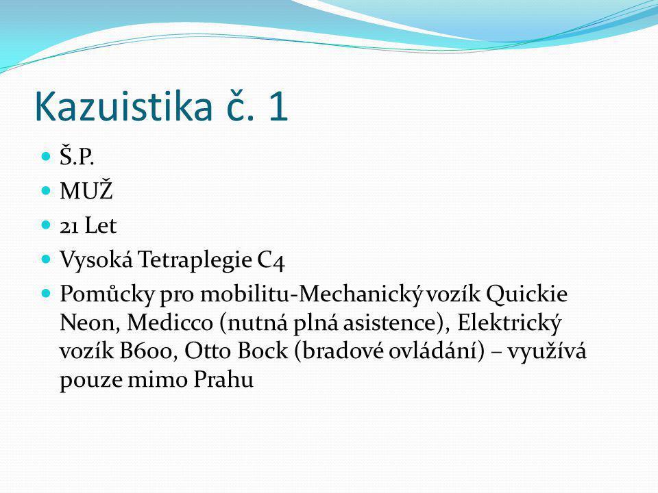 Kazuistika č. 1 Š.P. MUŽ 21 Let Vysoká Tetraplegie C4