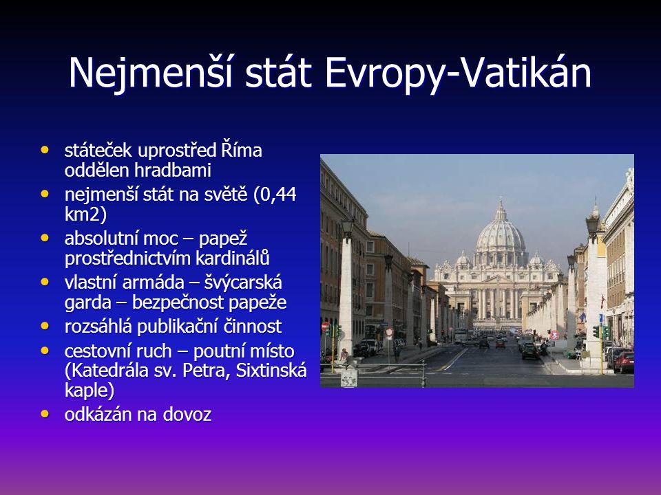 Nejmenší stát Evropy-Vatikán