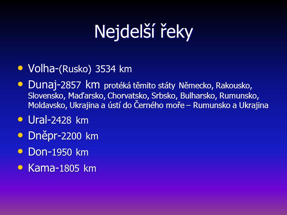Nejdelší řeky Volha-(Rusko) 3534 km