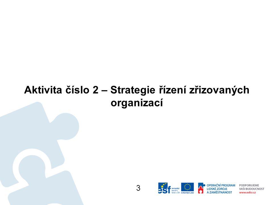 Aktivita číslo 2 – Strategie řízení zřizovaných organizací