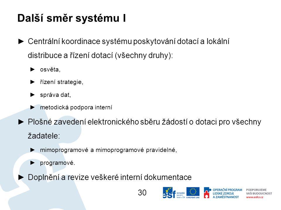 Další směr systému I Centrální koordinace systému poskytování dotací a lokální distribuce a řízení dotací (všechny druhy):