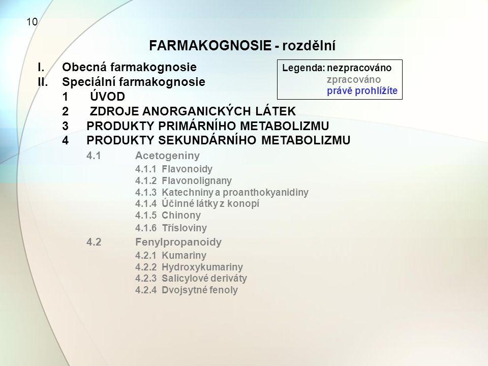 FARMAKOGNOSIE - rozdělní