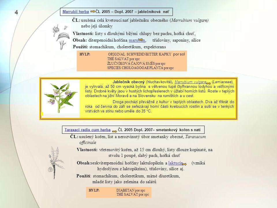 4 Marrubii herba ČL 2005 – Dopl. 2007 – jablečníková nať. ČL: usušená celá kvetoucí nať jablečníku obecného (Marrubium vulgare)