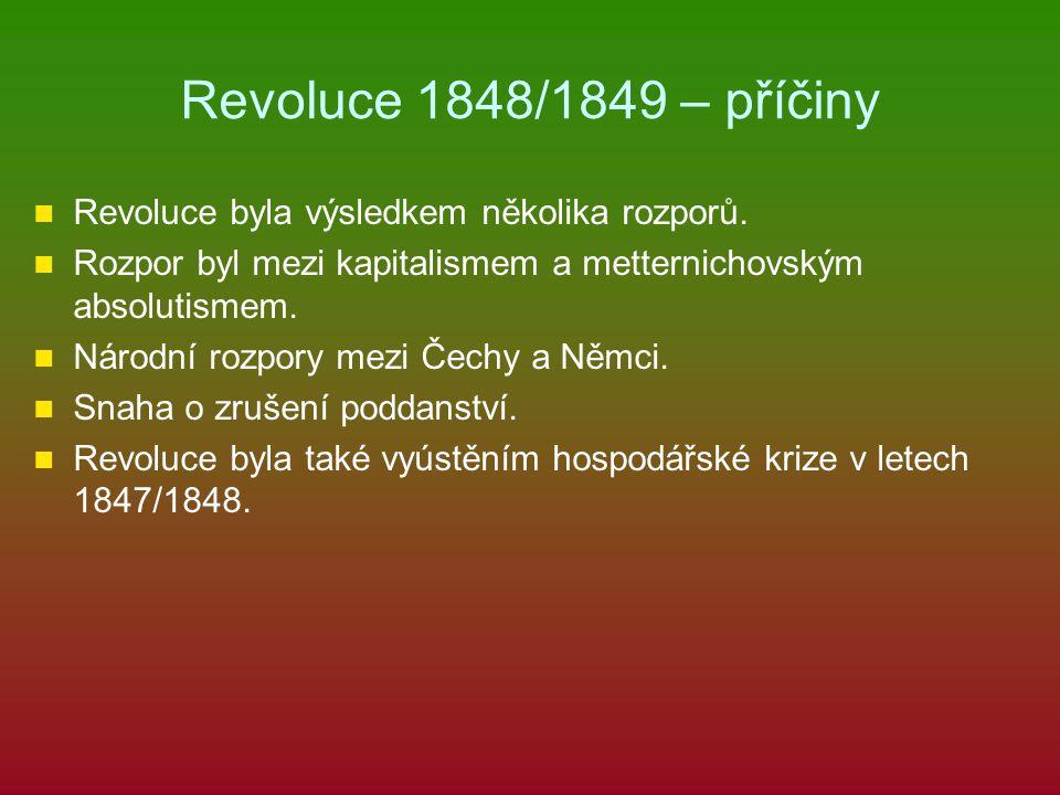 Revoluce 1848/1849 – příčiny Revoluce byla výsledkem několika rozporů.