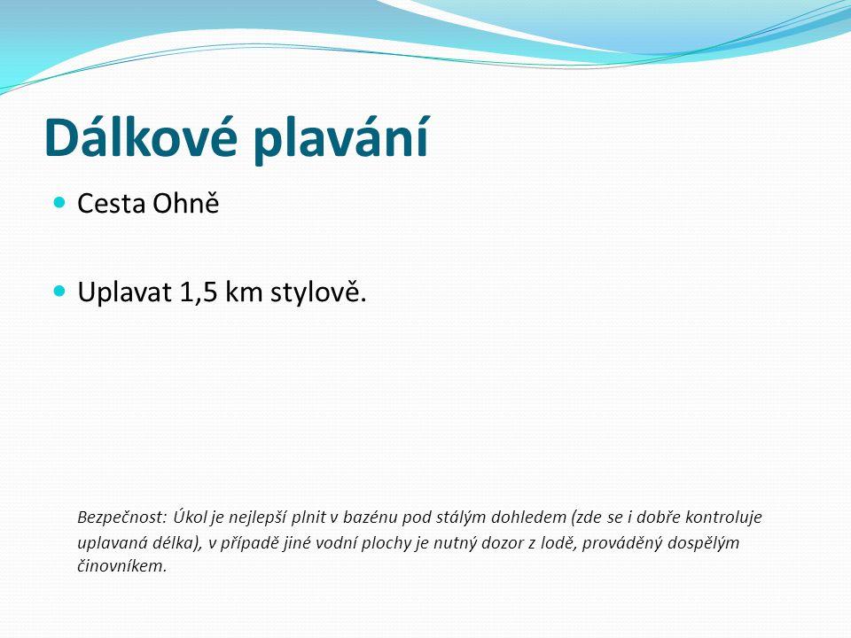 Dálkové plavání Cesta Ohně Uplavat 1,5 km stylově.