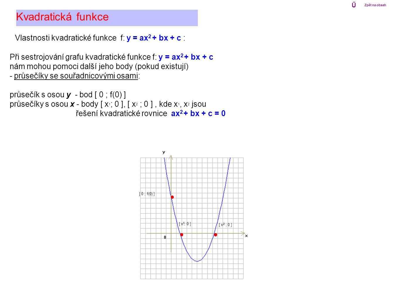 Kvadratická funkce Vlastnosti kvadratické funkce f: y = ax2 + bx + c :