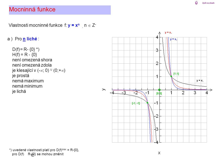 Mocninná funkce Vlastnosti mocninné funkce f: y = xn , n  Z-