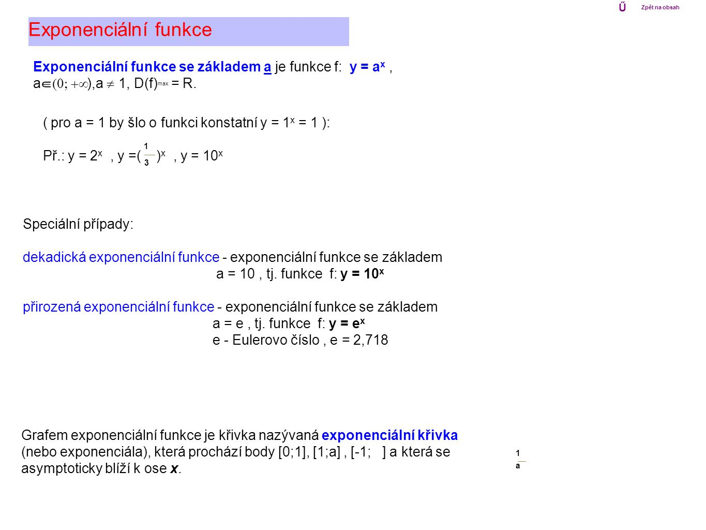 Ű Zpět na obsah. Exponenciální funkce. Exponenciální funkce se základem a je funkce f: y = ax , a (0; +Ą),a ą 1, D(f)max = R.