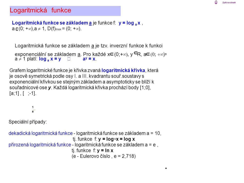 Logaritmická funkce se základem a je tzv. inverzní funkce k funkci