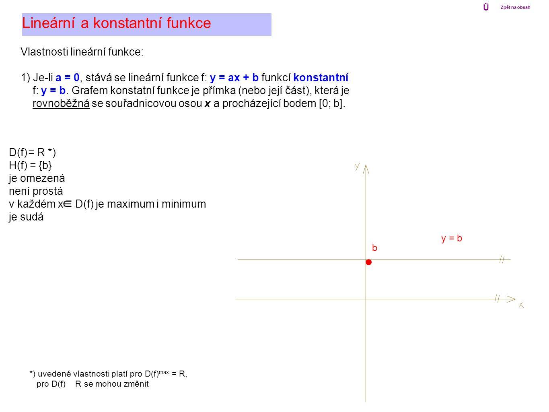 Lineární a konstantní funkce