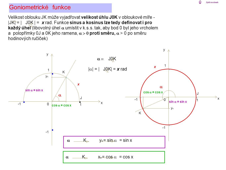 Ű Zpět na obsah. Goniometrické funkce. Velikost oblouku JK může vyjadřovat velikost úhlu J0K v obloukové míře -