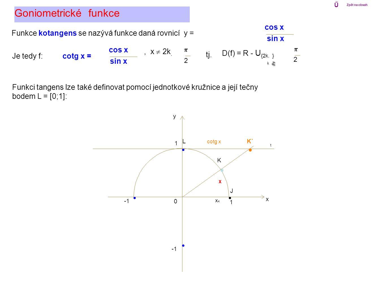 Goniometrické funkce cos x