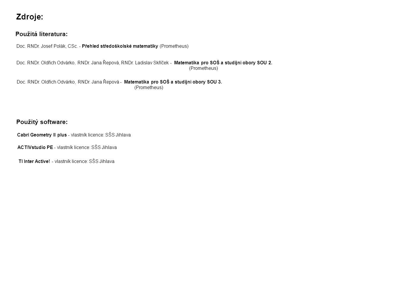 Zdroje: Použitá literatura: Použitý software: