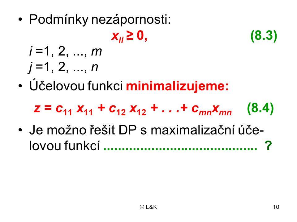Podmínky nezápornosti: xii ≥ 0, (8.3) i =1, 2, ..., m j =1, 2, ..., n