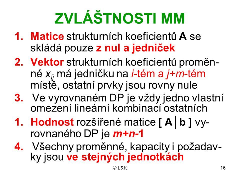 ZVLÁŠTNOSTI MM Matice strukturních koeficientů A se skládá pouze z nul a jedniček.