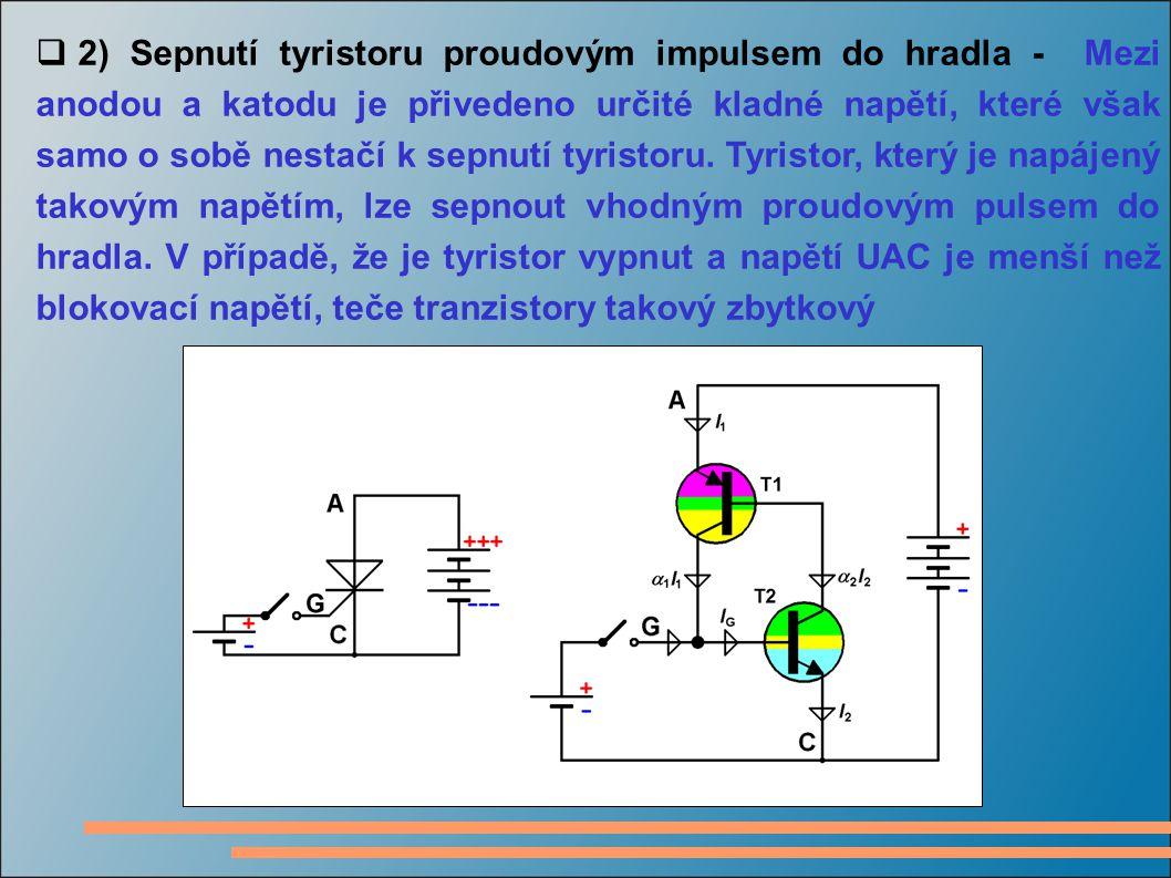 2) Sepnutí tyristoru proudovým impulsem do hradla - Mezi anodou a katodu je přivedeno určité kladné napětí, které však samo o sobě nestačí k sepnutí tyristoru.