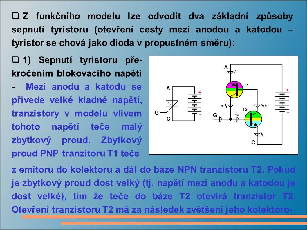 Z funkčního modelu lze odvodit dva základní způsoby sepnutí tyristoru (otevření cesty mezi anodou a katodou – tyristor se chová jako dioda v propustném směru):